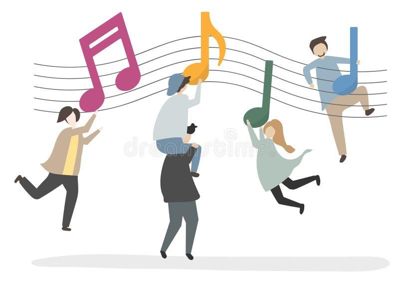 Ejemplo de caracteres y de notas de la música ilustración del vector