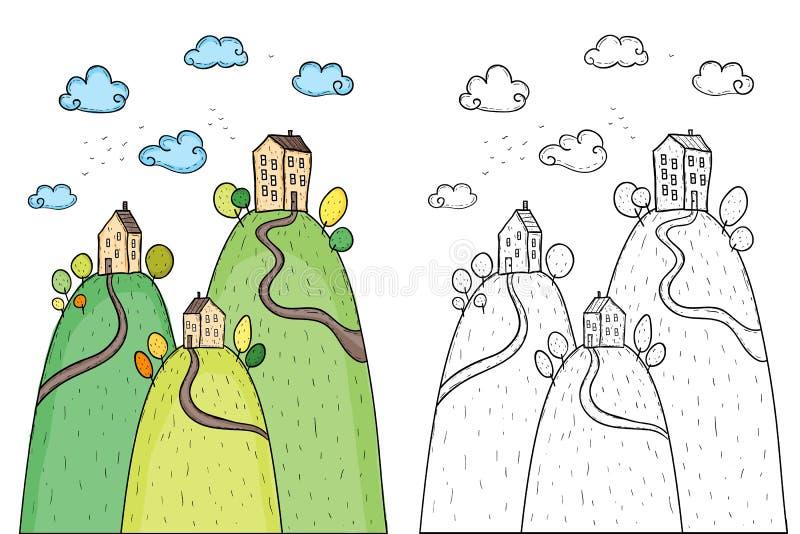 Ejemplo de casas con los árboles en la colina ilustración del vector
