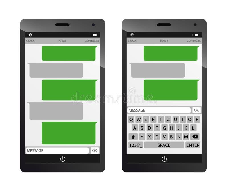 Ejemplo de charla del vector de Smartphone - burbujas del discurso del mensaje - libre illustration