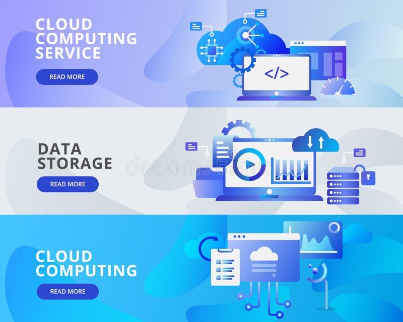 Ejemplo de Cloud Computing, almacenamiento de la bandera de la web de datos Concepto de diseño plano moderno del diseño de la pág ilustración del vector