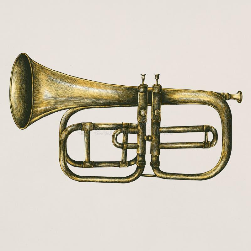 Ejemplo de cobre amarillo del estilo del vintage de la trompeta fotos de archivo