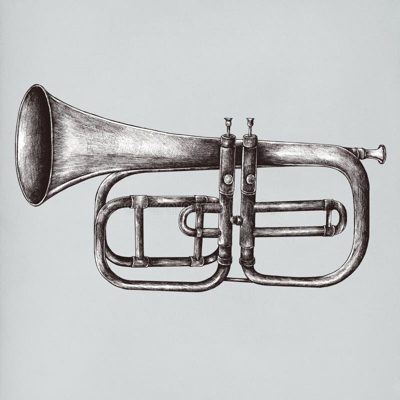 Ejemplo de cobre amarillo del estilo del vintage de la trompeta ilustración del vector