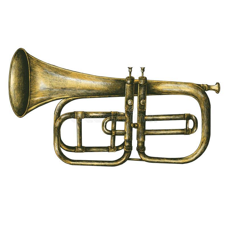 Ejemplo de cobre amarillo del estilo del vintage de la trompeta foto de archivo libre de regalías