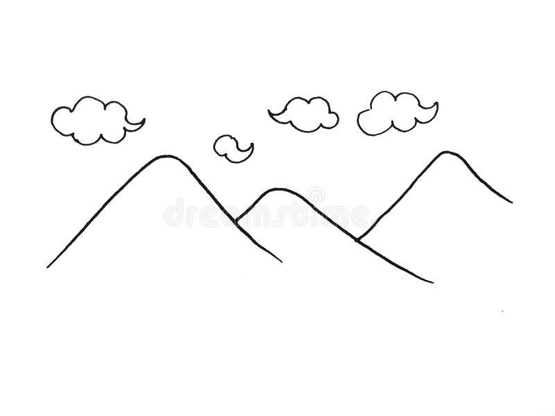 Ejemplo de colinas y de nubes ilustración del vector