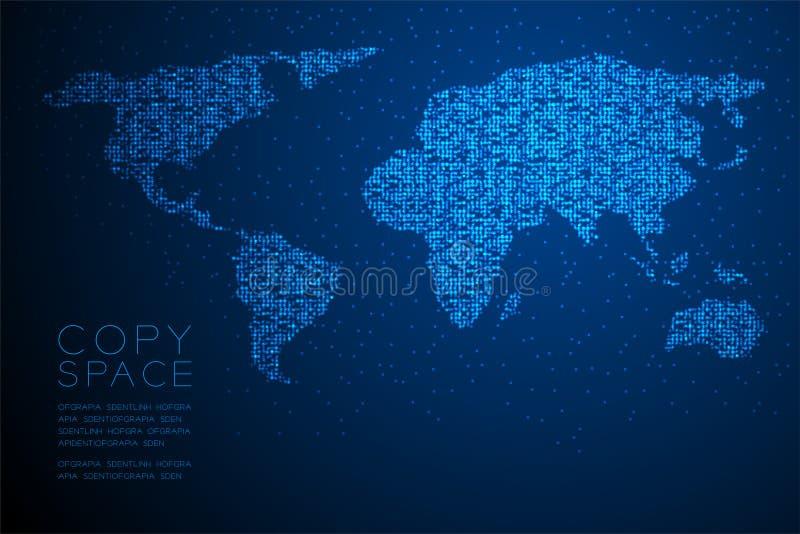 Ejemplo de color azul geométrico abstracto del diseño de concepto de la forma del mapa del mundo del modelo del pixel del punto d libre illustration