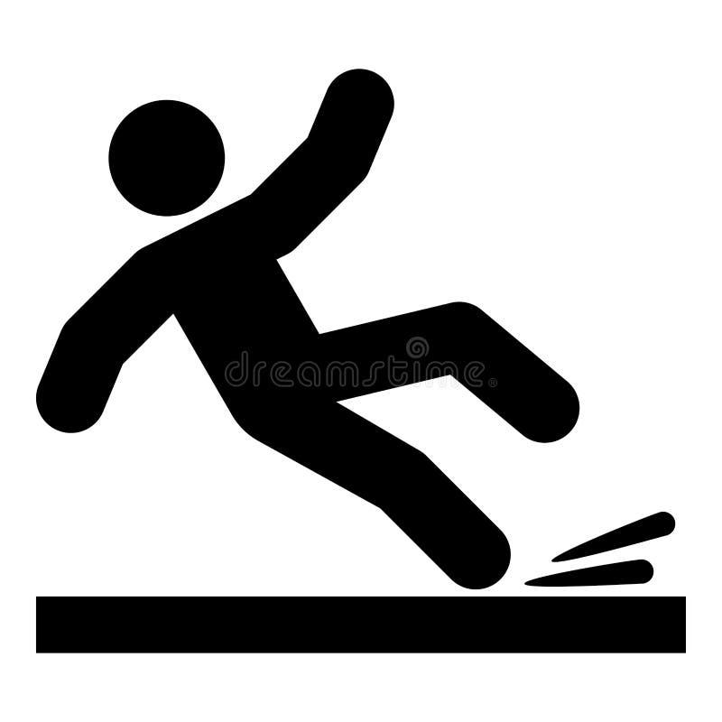 Ejemplo de color del negro del icono del hombre que cae stock de ilustración