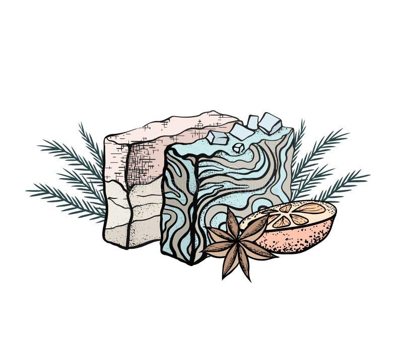 Ejemplo de color del vector del jabón hecho a mano con la naranja, las ramitas del enebro y el anís de estrella Objeto separado d libre illustration