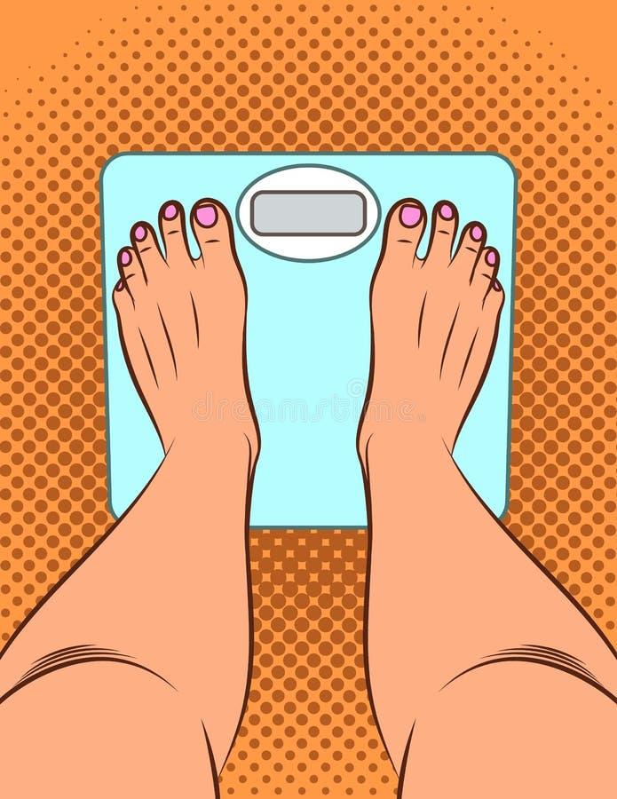 Ejemplo de color en estilo del arte pop La muchacha se coloca en las escalas Una muchacha mide su peso Opinión superior de las pi libre illustration