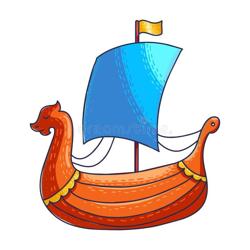 Ejemplo de color exhausto del vector de la mano de la nave de Viking libre illustration