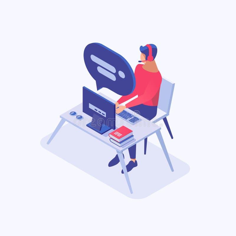 Ejemplo de color isométrico auxiliar en línea Consultor masculino de la atención al cliente, vendedor, comerciante, oficinista en libre illustration