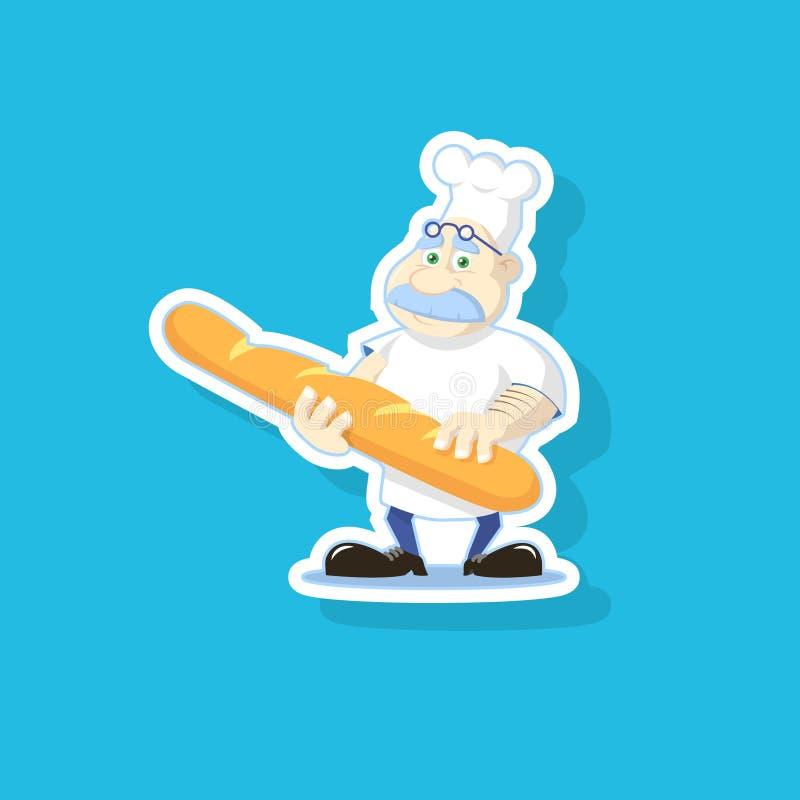Ejemplo de color plano del arte de un panadero lindo de la historieta con un bollo stock de ilustración
