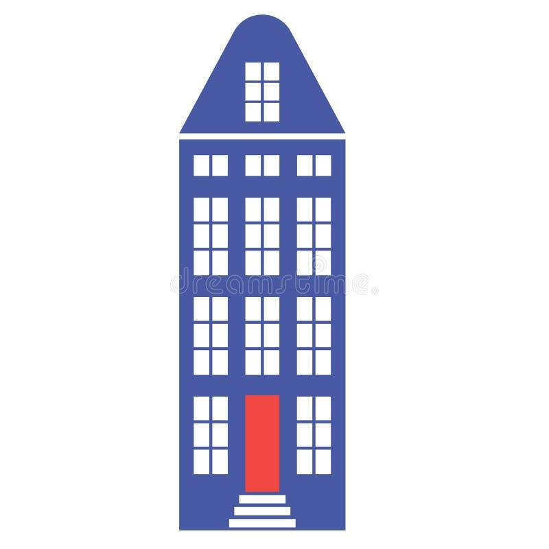 Ejemplo de color plano del color plano del edificio de Amsterdam stock de ilustración