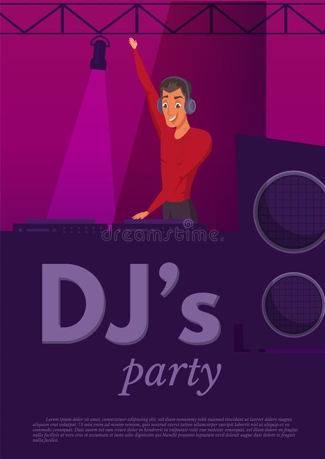 Ejemplo de color plano del funcionamiento del club nocturno de DJ ilustración del vector