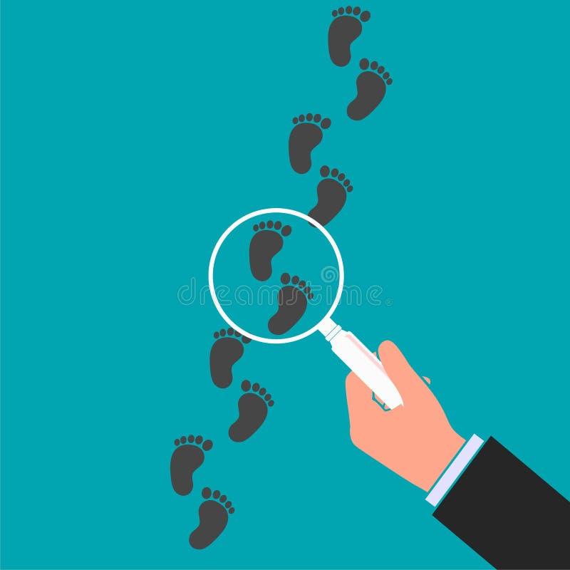 Ejemplo de color de siguiente del vector de los pasos Mano que sostiene la lupa sobre el ejemplo plano de la huella Inspecti dete libre illustration
