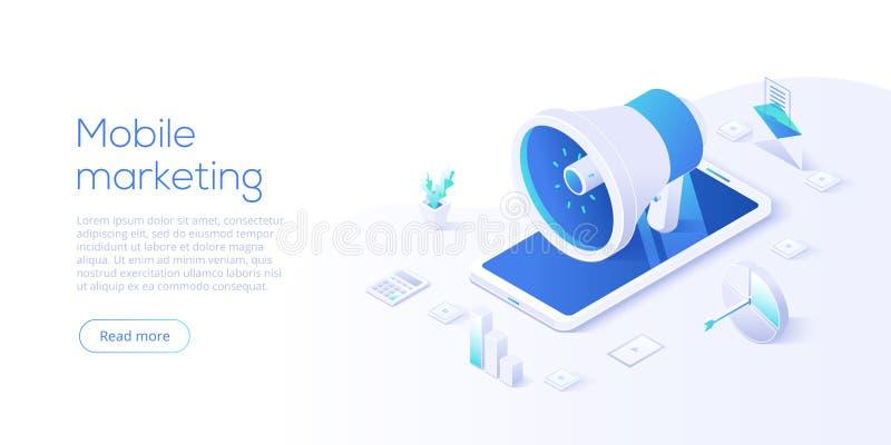 Ejemplo de comercialización móvil del negocio del vector en diseño isométrico Concepto en línea de la promoción de Internet con s libre illustration