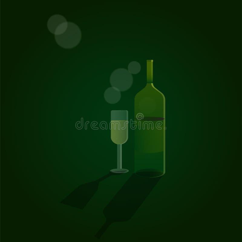 Ejemplo de consumición eps10 del vector del cristal de botellas Celebrate ilustración del vector
