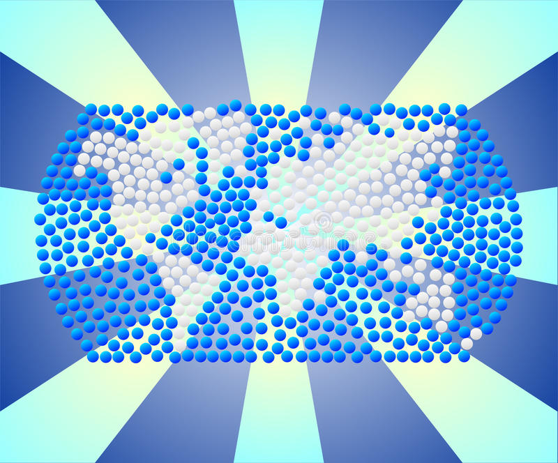 Ejemplo de continentes y de los océanos ilustración del vector