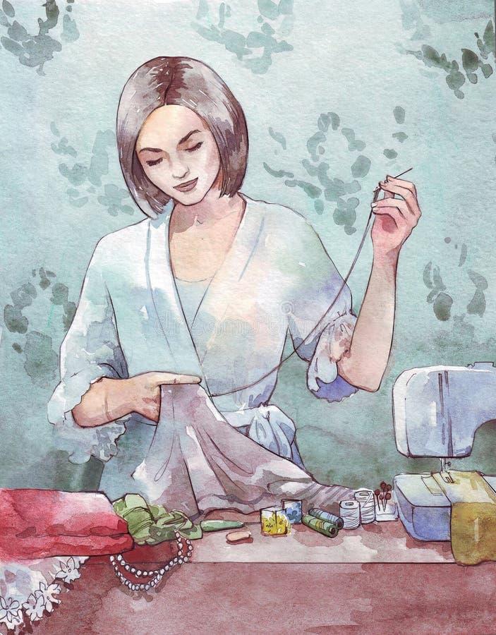 Ejemplo de costura de la acuarela de la mujer ilustración del vector