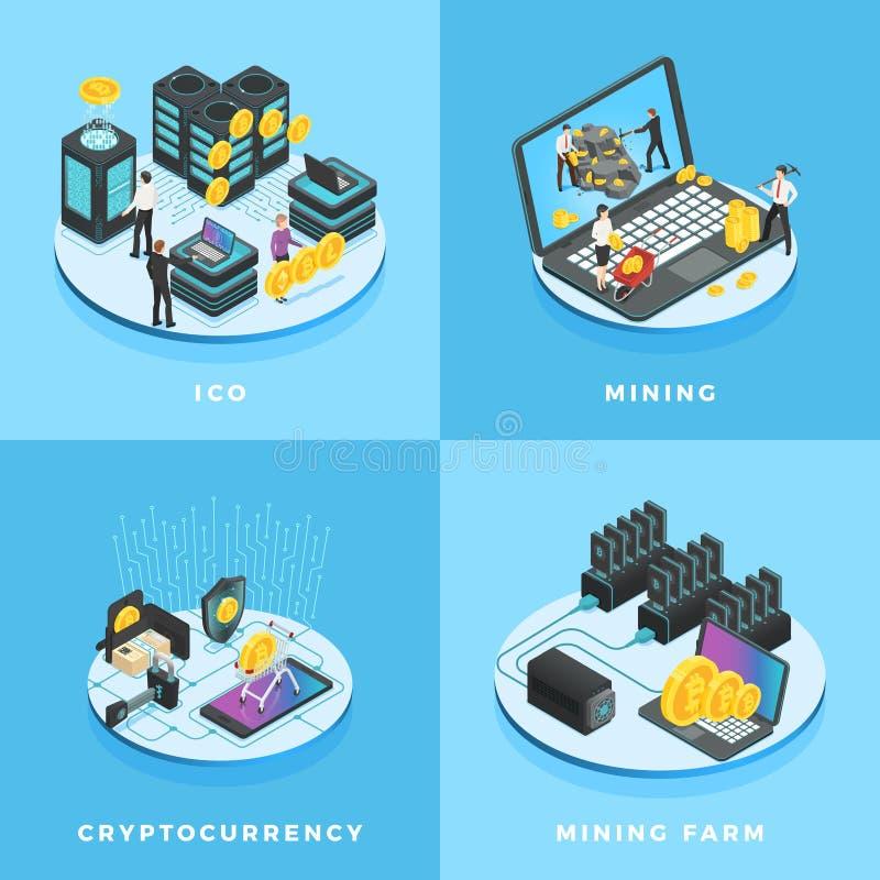 Ejemplo de Cryptocurrency Dinero electrónico, explotación minera de la moneda, ICO y vector isométrico de la red de ordenadores d stock de ilustración