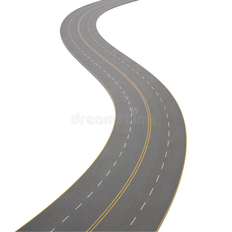 Ejemplo de curvar, camino de doblez, aislado libre illustration