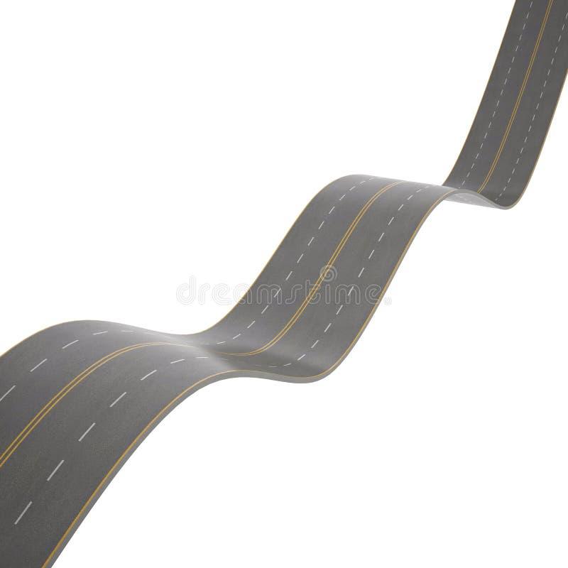 Ejemplo de curvar, camino de doblez, en el fondo blanco libre illustration