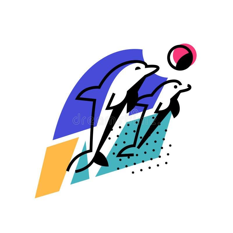 Ejemplo de delfínes por el océano Engrana el icono La imagen se aísla en el fondo blanco Dos delfínes están jugando cerca de la p stock de ilustración