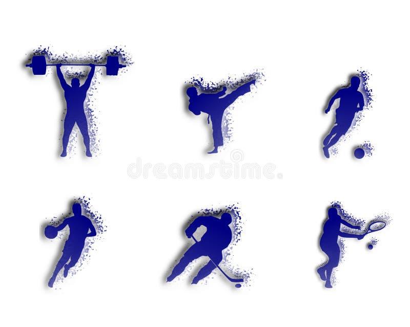Ejemplo de deportes: fútbol, baloncesto, tenis ilustración del vector