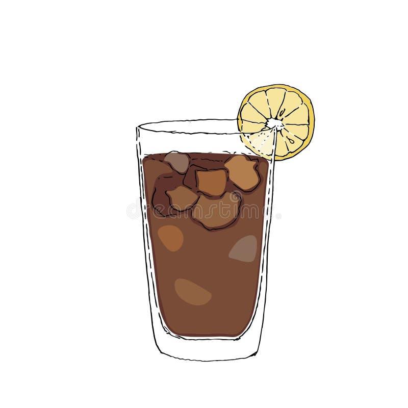 Ejemplo de dibujo del vector de Digitaces del color del cóctel de Long Island Vidrio en el fondo aislado blanco stock de ilustración