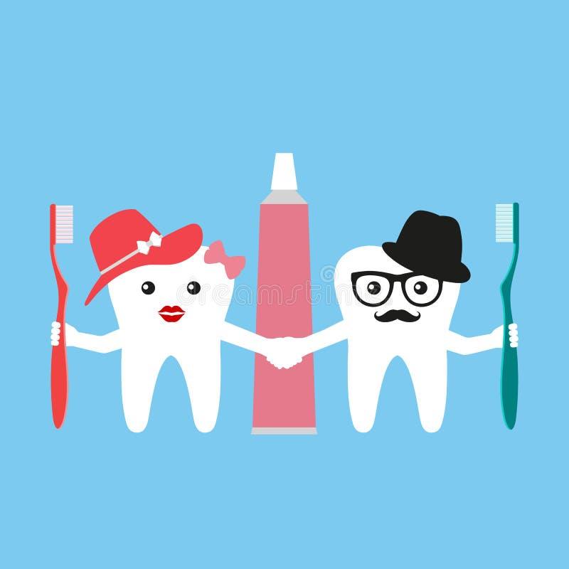 Ejemplo de dientes divertidos con los cepillos de dientes en un fondo azul stock de ilustración