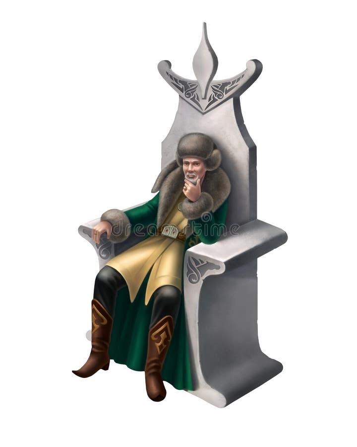 Ejemplo de Digitaces del asiático khan en el trono ilustración del vector