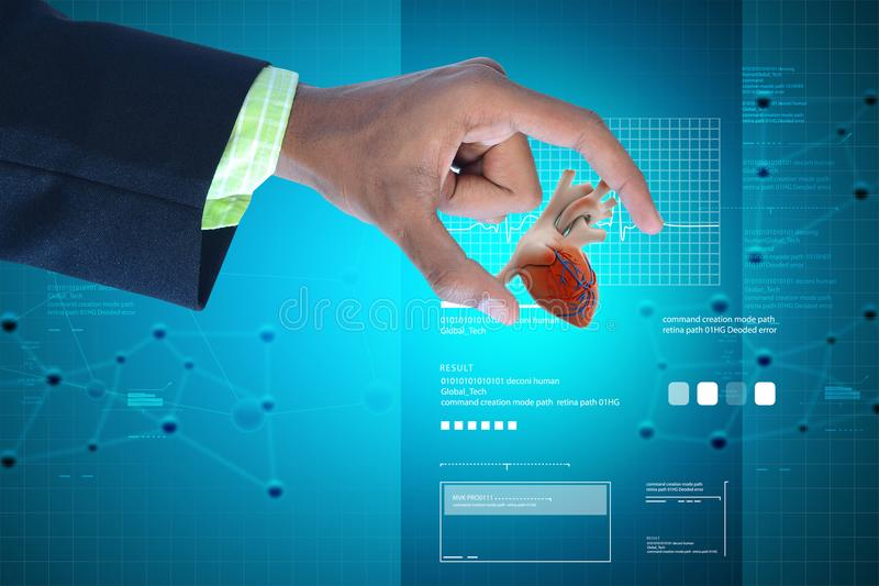 Ejemplo de Digitaces de la mano elegante que muestra el corazón humano imagen de archivo libre de regalías