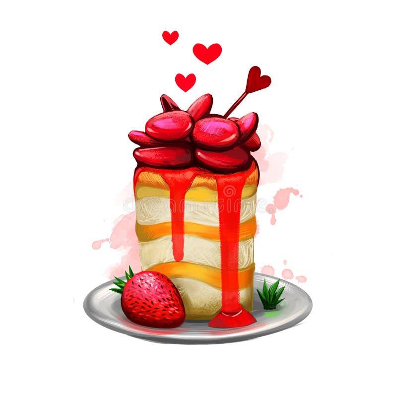 Ejemplo de Digitaces de la torta sabrosa con la fresa y el atasco La presentación hermosa de la comida con la migaja, los corazon ilustración del vector