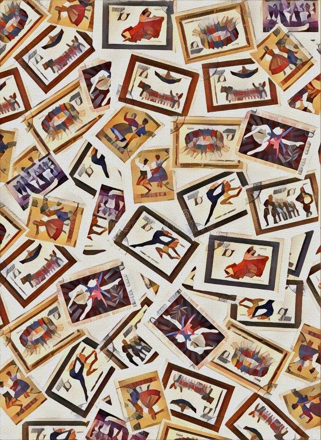 Ejemplo de Digitaces Sistema del vintage de la danza de la coreografía de los sellos de fondo stock de ilustración