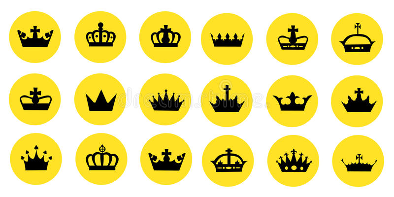 Ejemplo de diversas coronas ilustración del vector