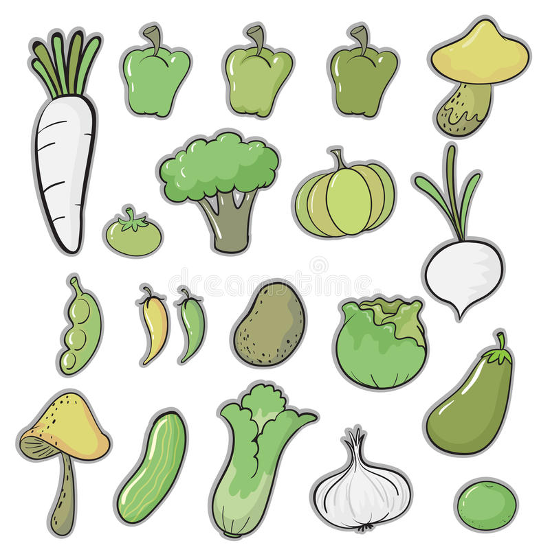 Diversas verduras stock de ilustración