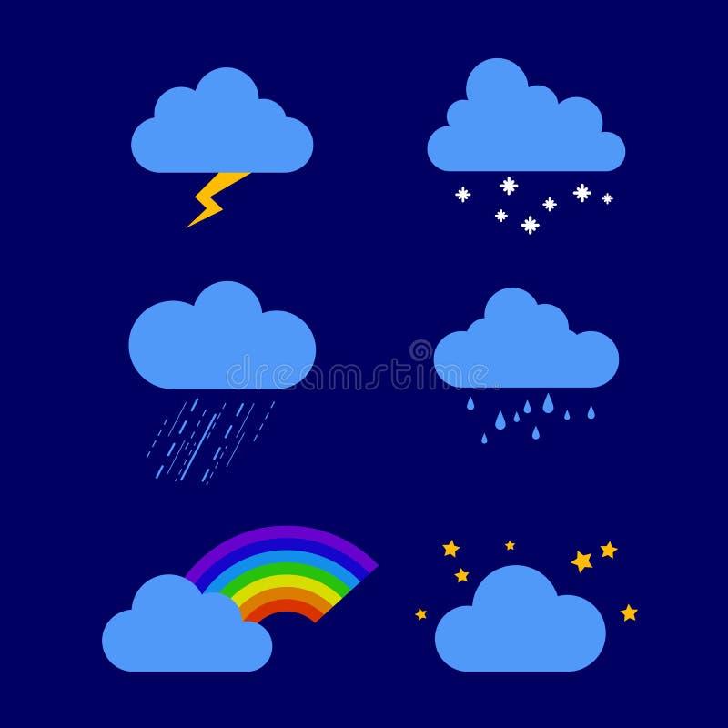 Ejemplo de diverso tiempo lluvia, tormenta, relámpago, nieve, cielo con las estrellas, arco iris Iconos del tiempo Colecci?n de ilustración del vector