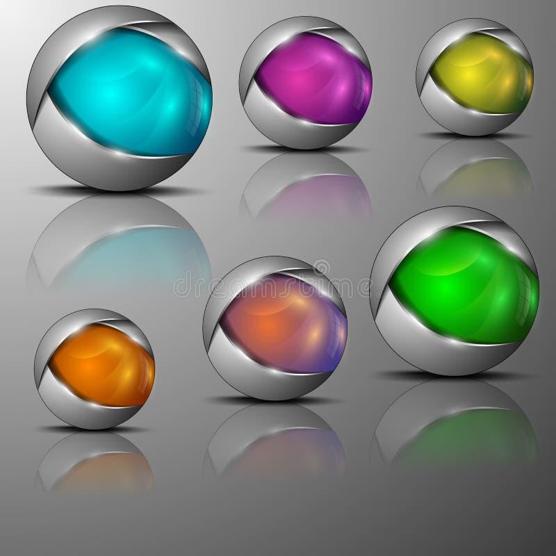 Ejemplo de diversos emblemas formados esfera coloreados libre illustration