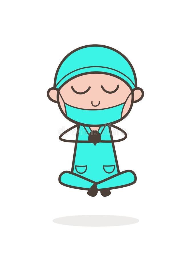 Ejemplo de Doing Yoga Vector del cirujano de la historieta ilustración del vector