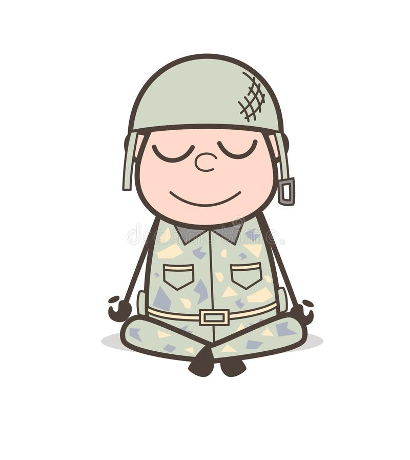 Ejemplo de Doing Yoga Vector del soldado de la historieta libre illustration