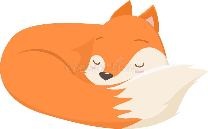 Ejemplo de dormir lindo de la historieta del zorro ilustración del vector