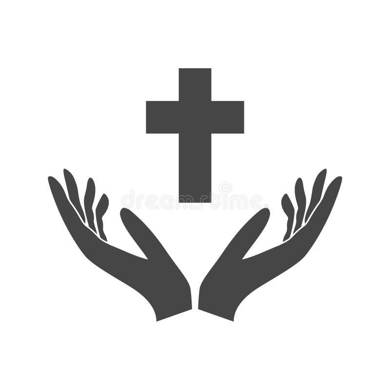 Ejemplo de dos manos que ofrecen una cruz cristiana, manos que llevan a cabo la cruz stock de ilustración