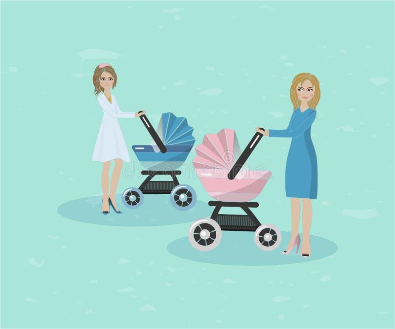 Ejemplo de dos mujeres con los cochecitos ilustración del vector