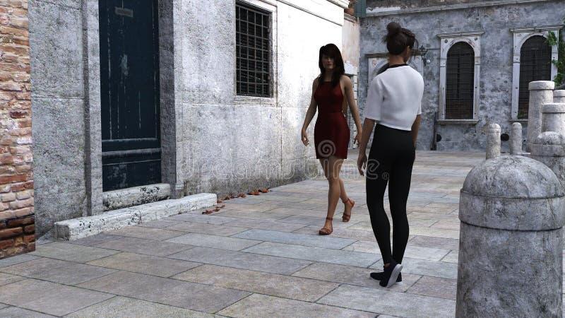 Ejemplo de dos mujeres que se colocan y que caminan en una acera de piedra en un ajuste del Viejo Mundo ilustración del vector