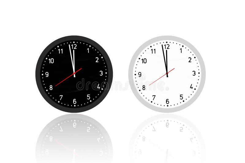 Ejemplo de dos relojes blancos y negros ilustración del vector