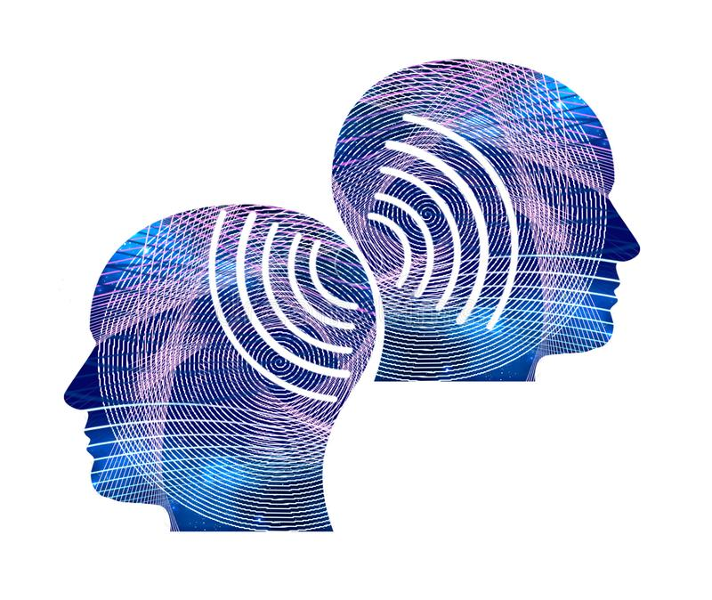 Ejemplo de dos siluetas de la cabeza humana libre illustration
