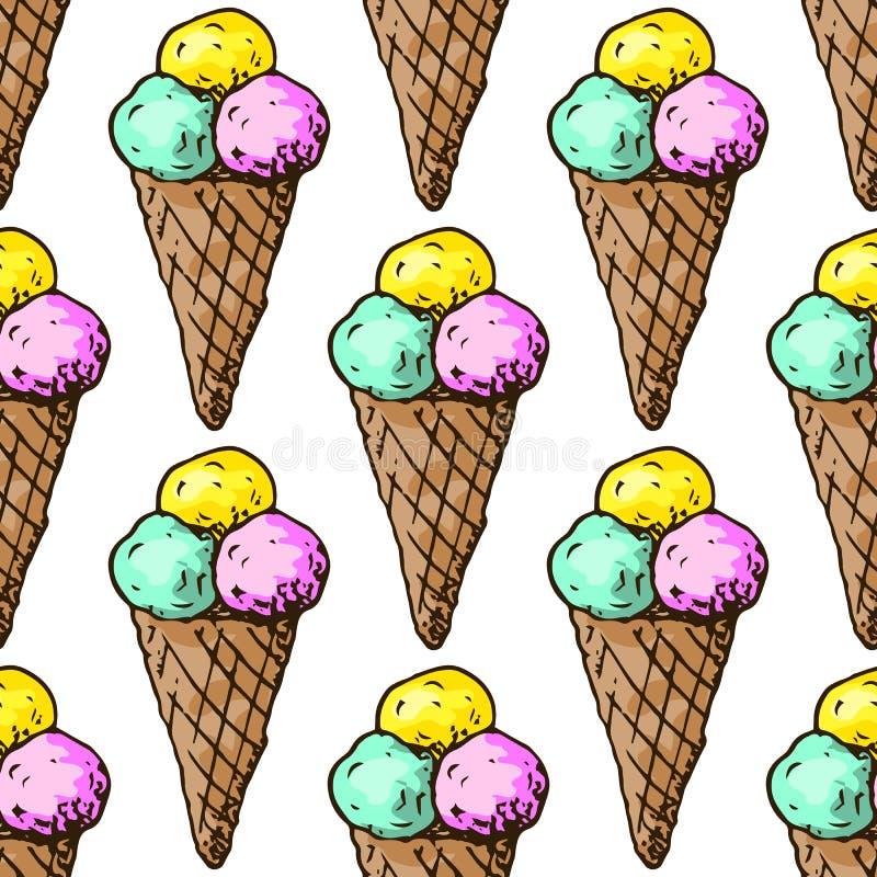Ejemplo de dulces Helado clasificado Día de fiesta feliz Modelo inconsútil ilustración del vector