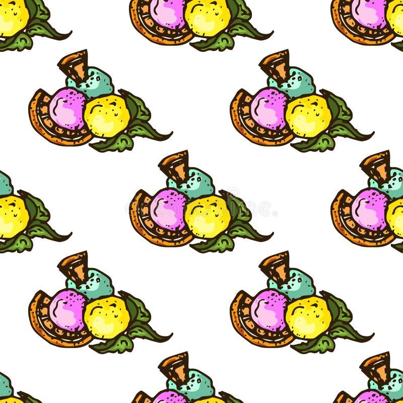 Ejemplo de dulces Helado clasificado Día de fiesta feliz Modelo inconsútil stock de ilustración
