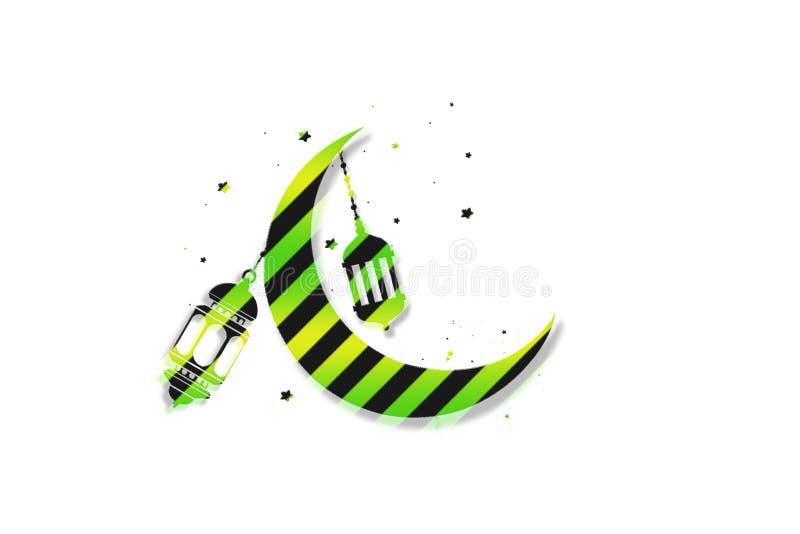 ejemplo de Eid Mubarak, de estrellas y del fondo del saludo de la luna para las celebraciones musulmanes del festival de comunida stock de ilustración