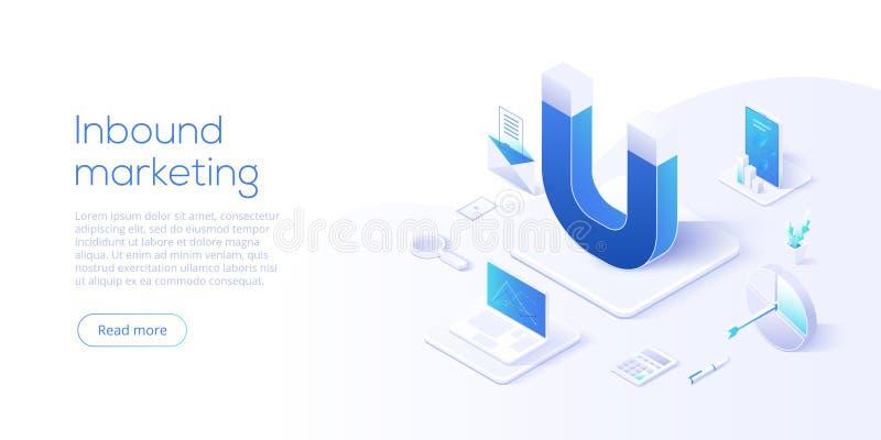Ejemplo de entrada del negocio del vector del márketing en desi isométrico libre illustration