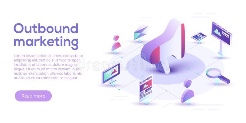 Ejemplo de entrada y el extranjero adentro i del negocio del vector del márketing stock de ilustración